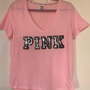 NEW PINK Victoria's Secret short sleeve size large